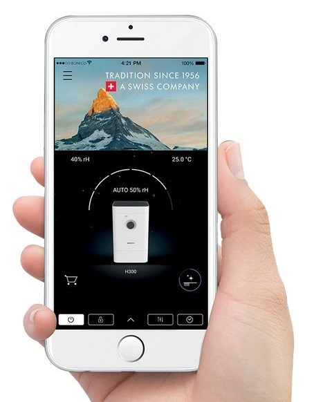 Oczyszczacz powietrza z nawilżaczem Boneco H300 aplikacja