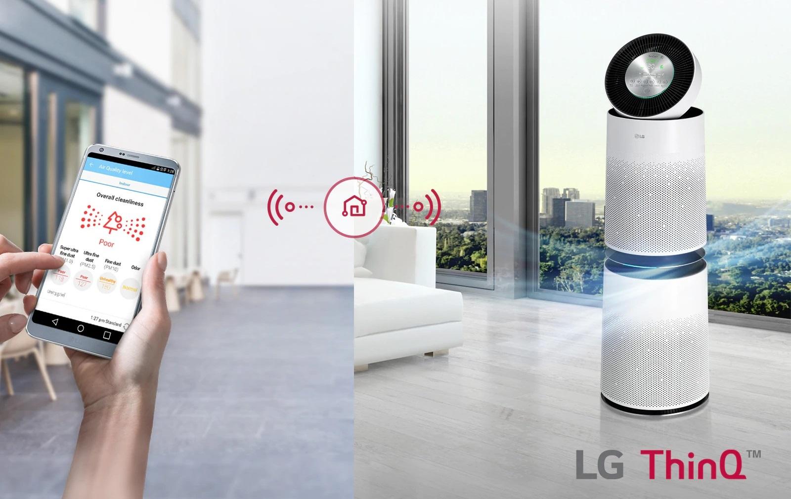Oczyszczacz powietrza LG AS95GDWV0 filtracja powietrza aplikacja ThinQ