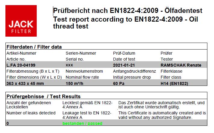 Oczyszczacz powietrza Ideal Hercules H14 - przykładowy certyfikat