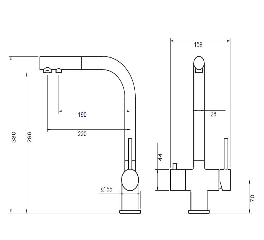 Bateria trójdrożna Apala (mosiądz antyczny) - wymiary