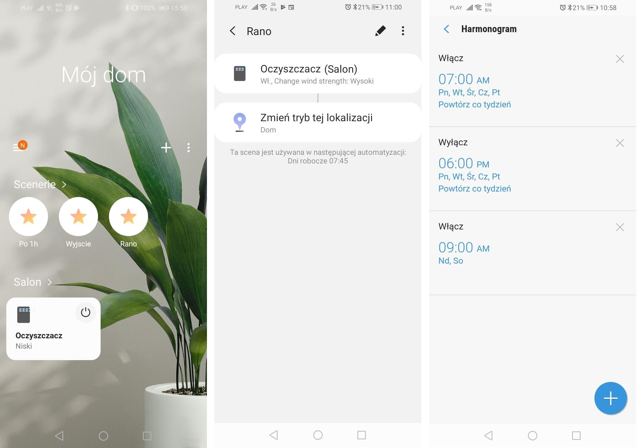 Oczyszczacze Samsung - aplikacja mobilna SmartThings
