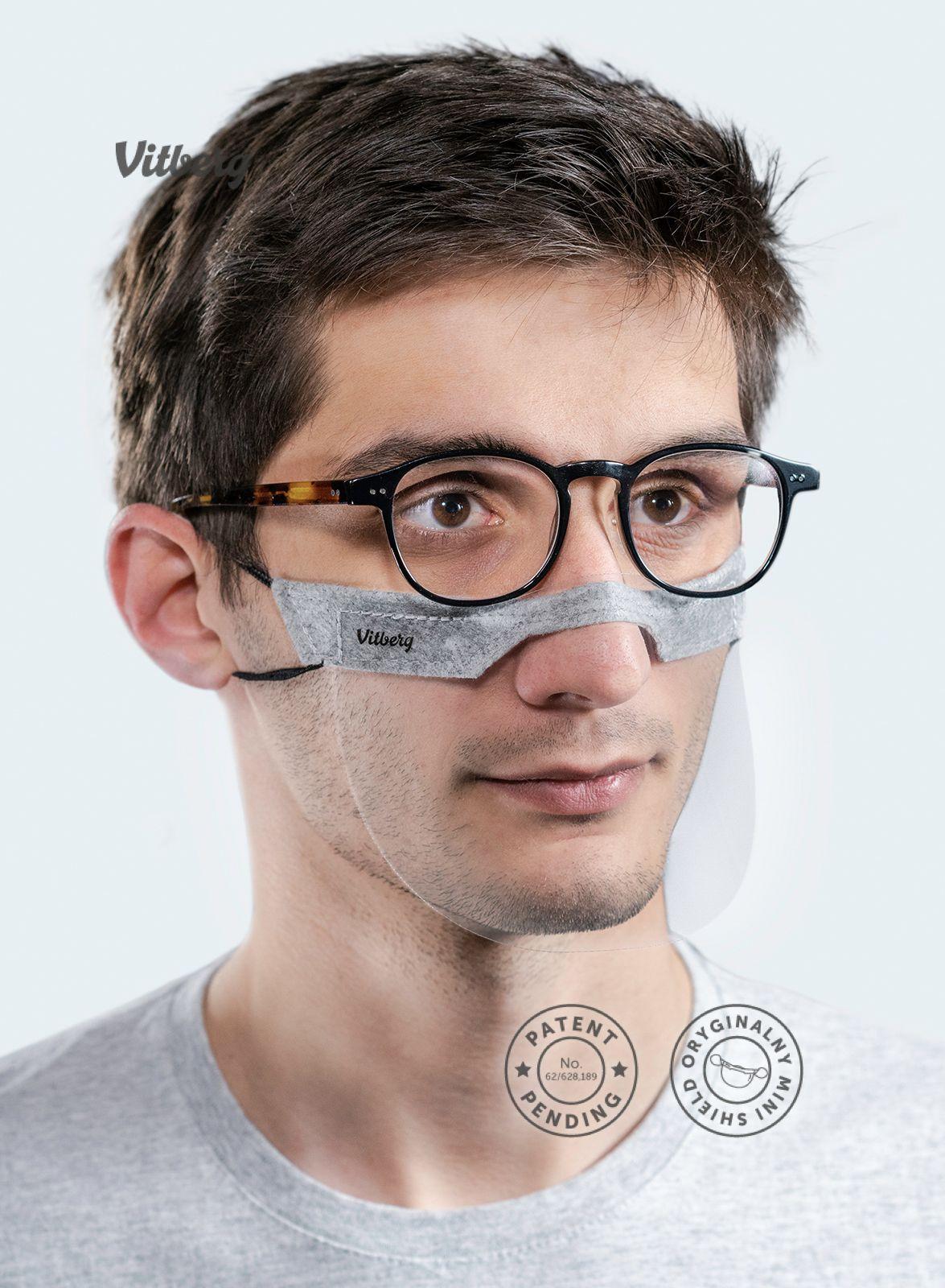 Mini przyłbica Vitberg Mini Shield maksymalnie wygodna nawet z okularami